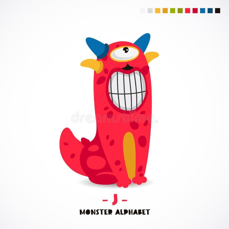 Alfabeto del monstruo Letra J stock de ilustración