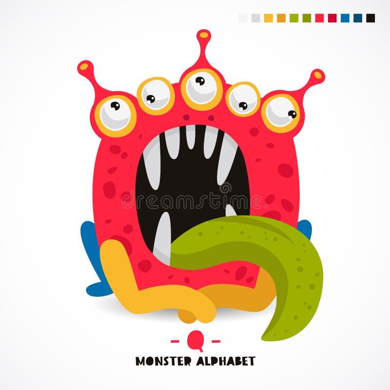 Alfabeto del monstruo Letra Q ilustración del vector