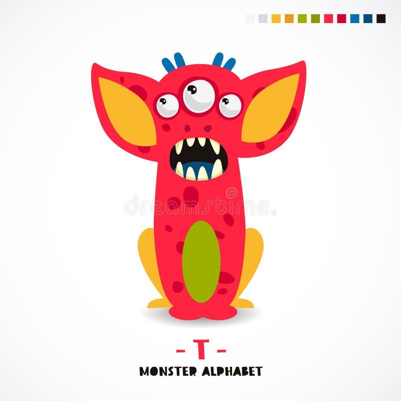 Alfabeto del monstruo Letra T ilustración del vector