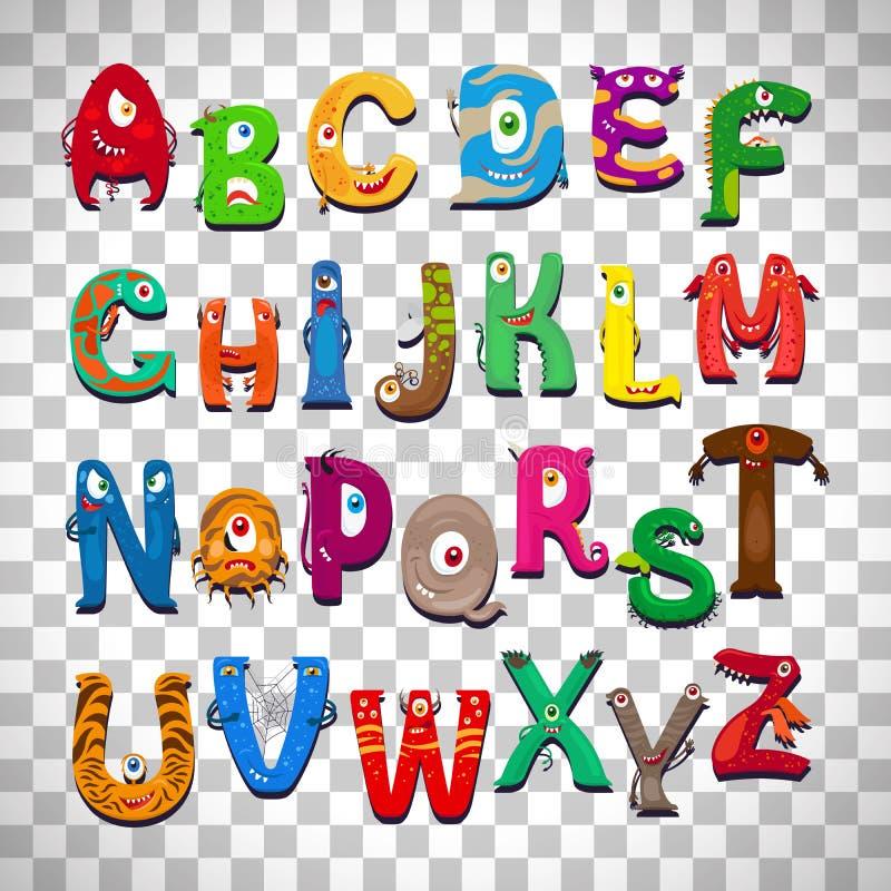 Alfabeto del mostro su fondo trasparente royalty illustrazione gratis