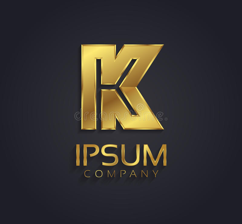 Alfabeto del oro del gráfico de vector/letra hermosos K/símbolo stock de ilustración