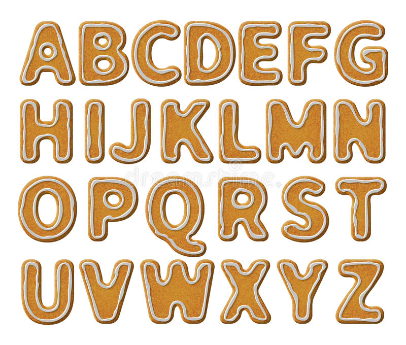 Alfabeto del pan de jengibre con el esmalte ilustración del vector