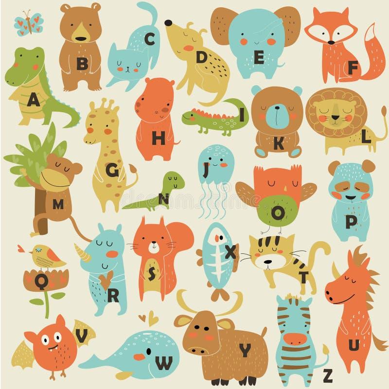 Alfabeto del parque zoológico ilustración del vector