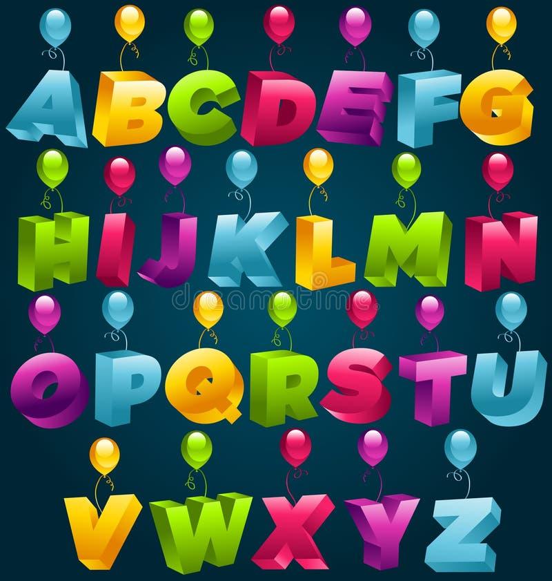 alfabeto del partito 3D royalty illustrazione gratis