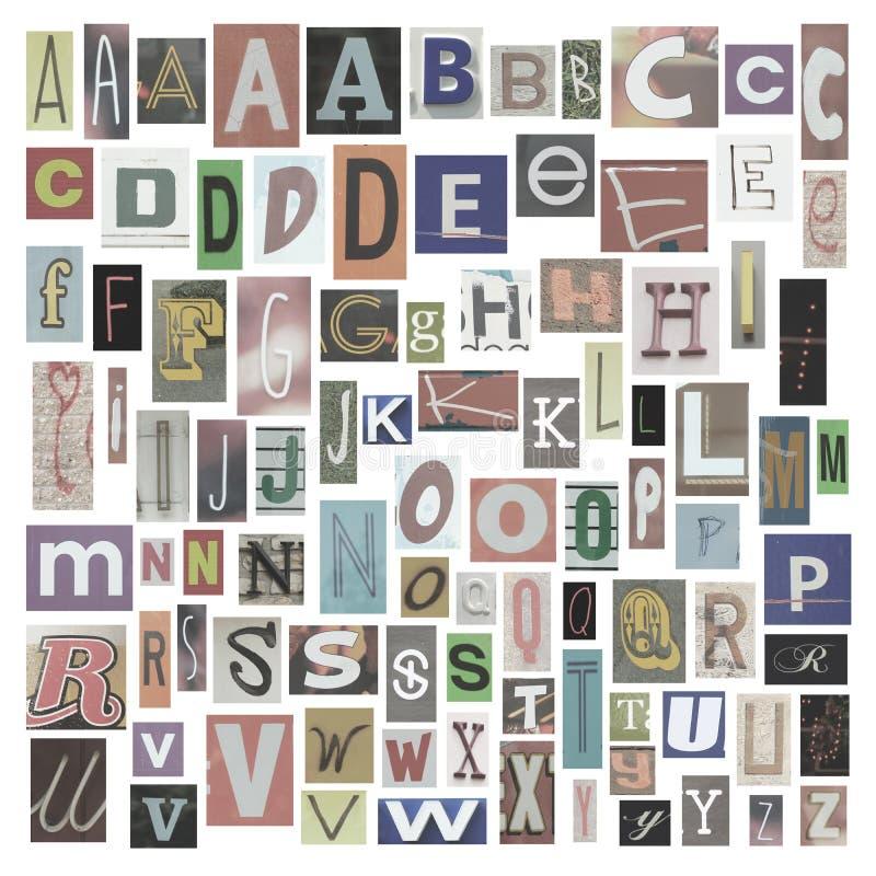 Alfabeto del periódico imagen de archivo libre de regalías
