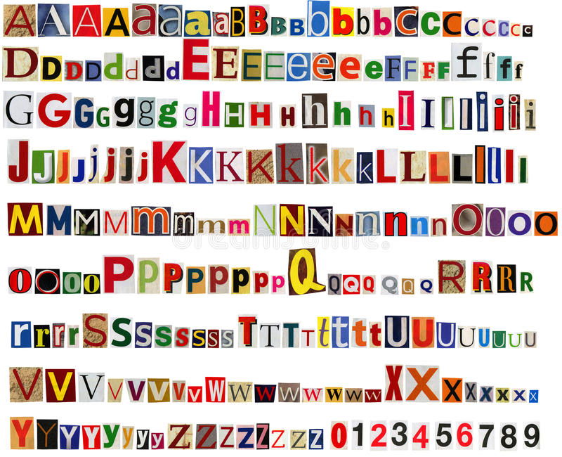 Alfabeto del periódico con las letras y los números imágenes de archivo libres de regalías