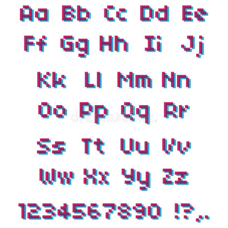 Alfabeto del pixel del vector Letras y números rosados y azules libre illustration