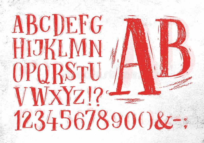 Alfabeto del rojo de la fuente del lápiz libre illustration