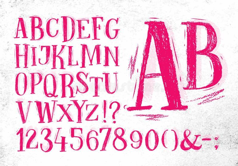 Alfabeto del rosa de la fuente del lápiz ilustración del vector