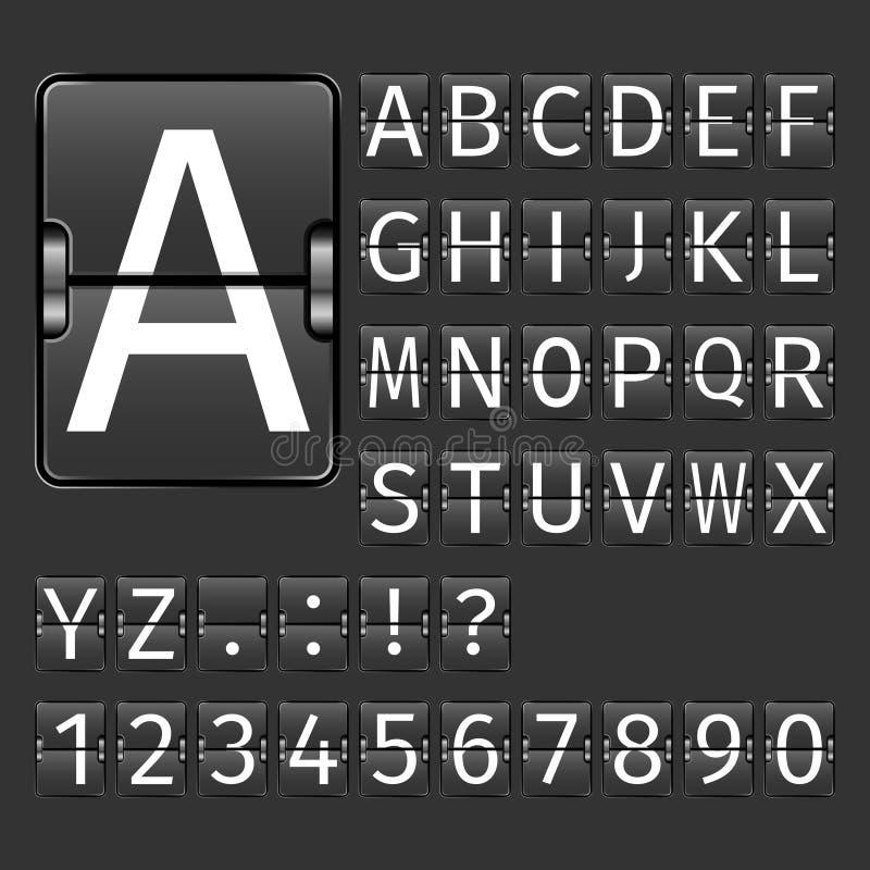Alfabeto del tablero del aeropuerto ilustración del vector