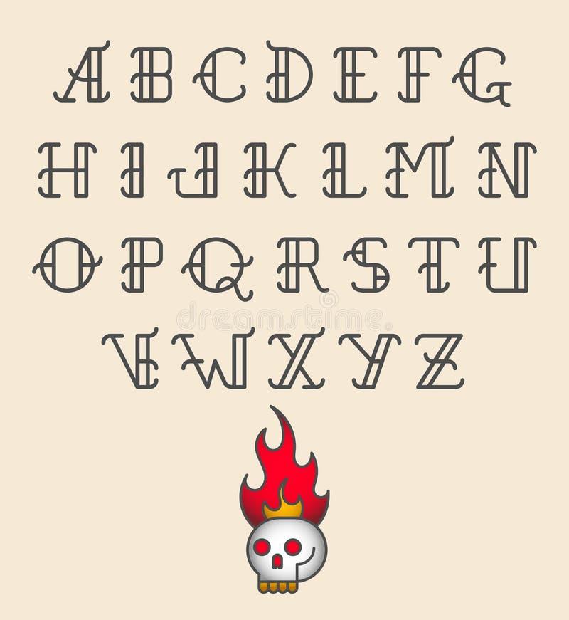 Alfabeto del tatuaje de la escuela vieja ilustración del vector