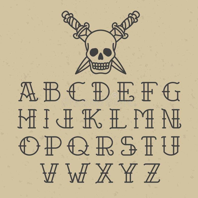 Alfabeto del tatuaje de la escuela vieja stock de ilustración