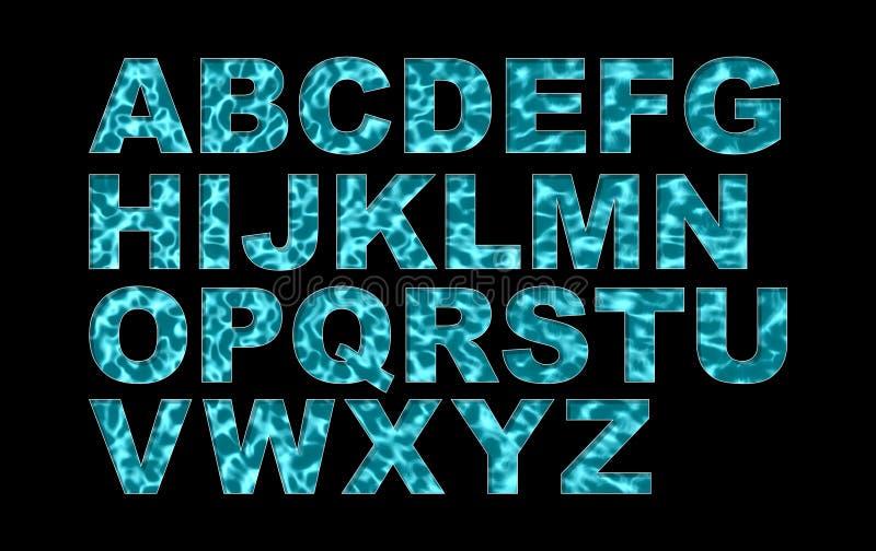 Alfabeto del tipo di carattere della piscina dell'acqua fotografia stock