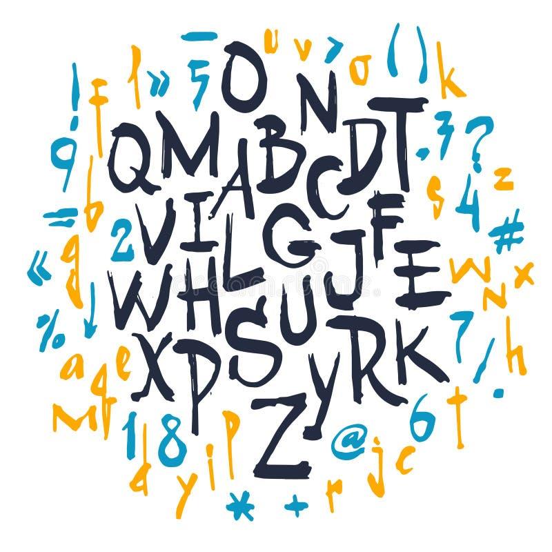 Alfabeto del vector Cartas drenadas mano stock de ilustración