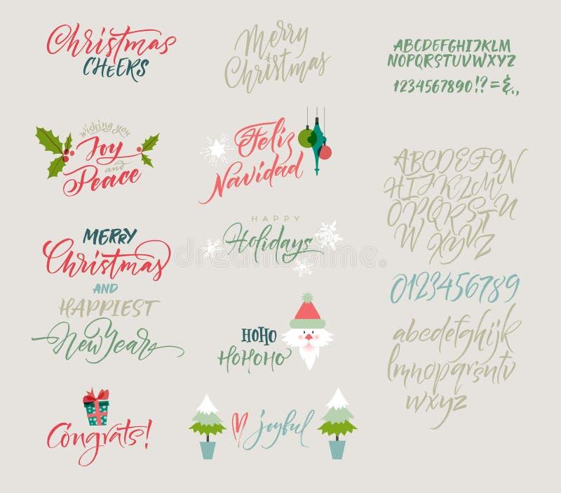 Alfabeto del vector Congrats de la Navidad y del Año Nuevo Saludos de la estación stock de ilustración