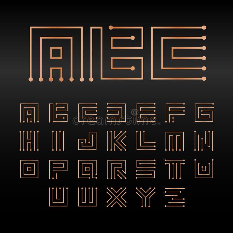 Alfabeto del vector de Digitaces, fuente abstracta aislada de la tecnología Sistema del logotipo de ABC del microchip Muestras el libre illustration