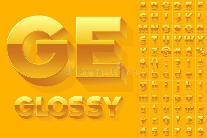 Alfabeto del vector de las letras brillantes simples 3d libre illustration