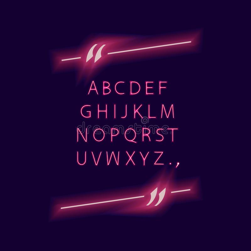 Alfabeto del vector en el marco de la cita, luces que brillan intensamente de neón, aisladas en el fondo oscuro compuesto tipo y  ilustración del vector