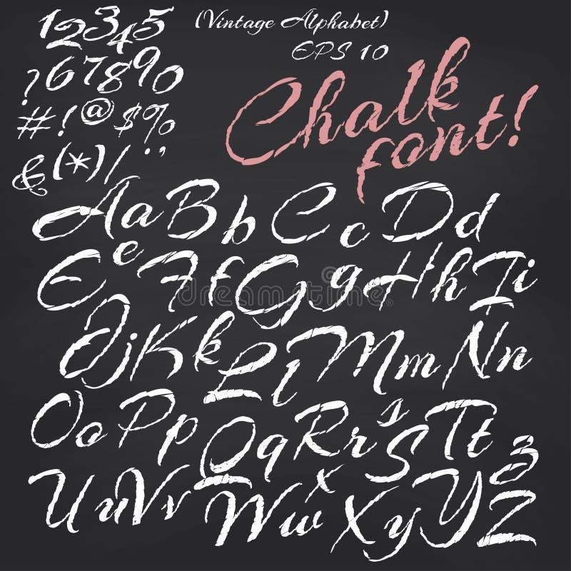 Alfabeto del vector Fuente de la tiza en la pizarra libre illustration