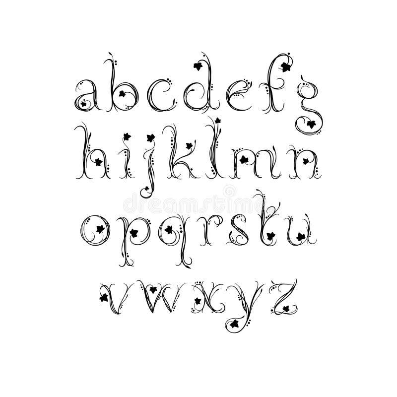 Alfabeto del vector Letras exclusivas Fuente mágica decorativa para casarse el monograma, calificando, invitación ilustración del vector