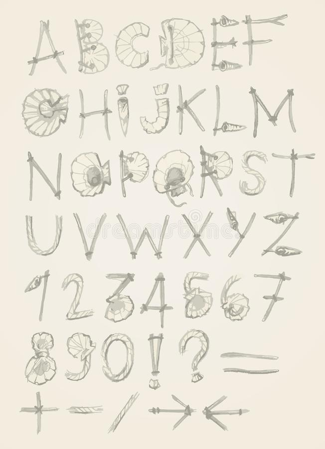 Alfabeto del verano del bosquejo con la cuerda y las cáscaras stock de ilustración