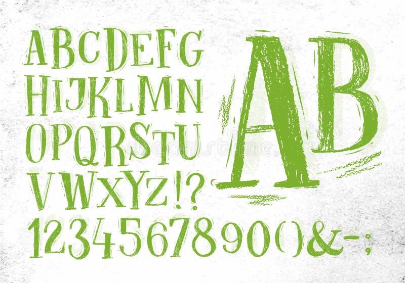 Alfabeto del verde de la fuente del lápiz ilustración del vector