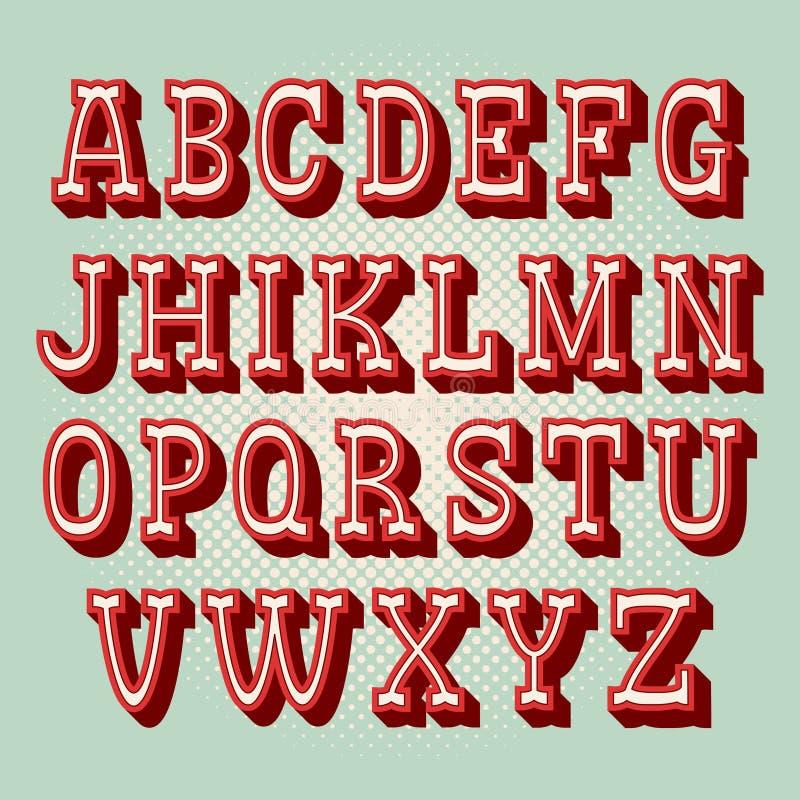 Alfabeto del vintage 3d Tipografía retra Ejemplo de la fuente de vector ilustración del vector