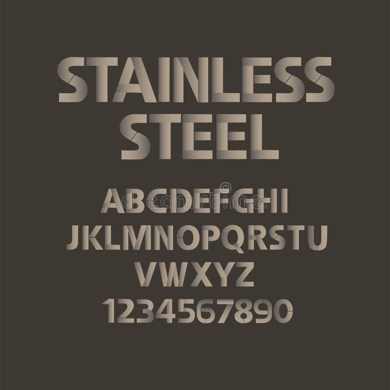 Alfabeto dell'acciaio inossidabile con i numeri Insieme di ABC del metallo della stuoia royalty illustrazione gratis