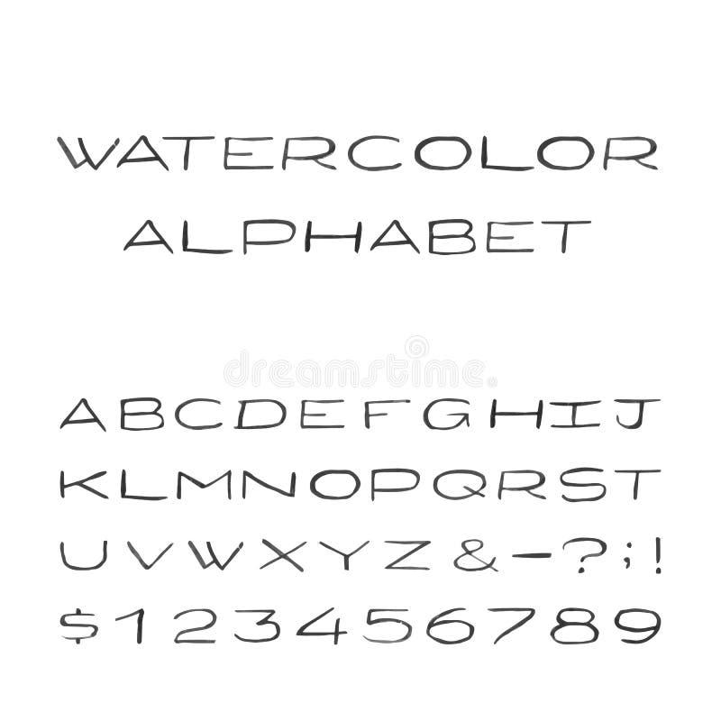 Download Alfabeto Dell'acquerello Fonte Di Vettore Dipinta Illustrazione Vettoriale - Illustrazione di moderno, verniciato: 55364007