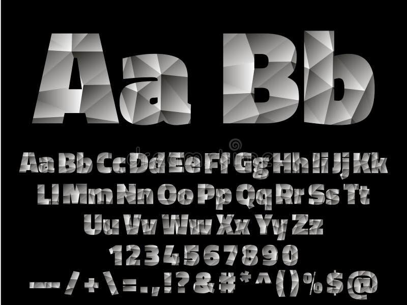 Alfabeto della fonte di Lowpoly di vettore con i numeri e illustrazione vettoriale