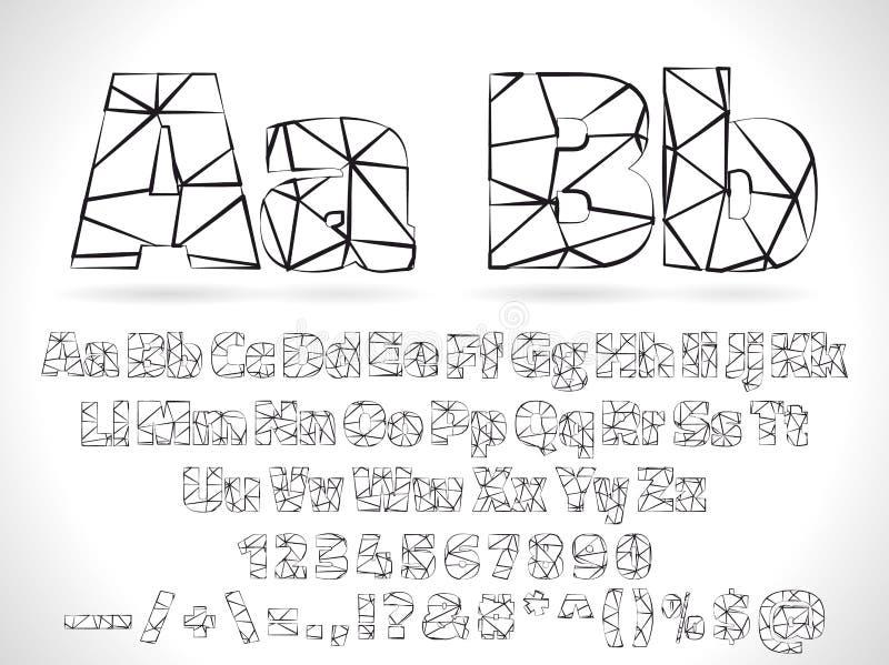 Alfabeto della fonte di Lowpoly di vettore con i numeri e royalty illustrazione gratis