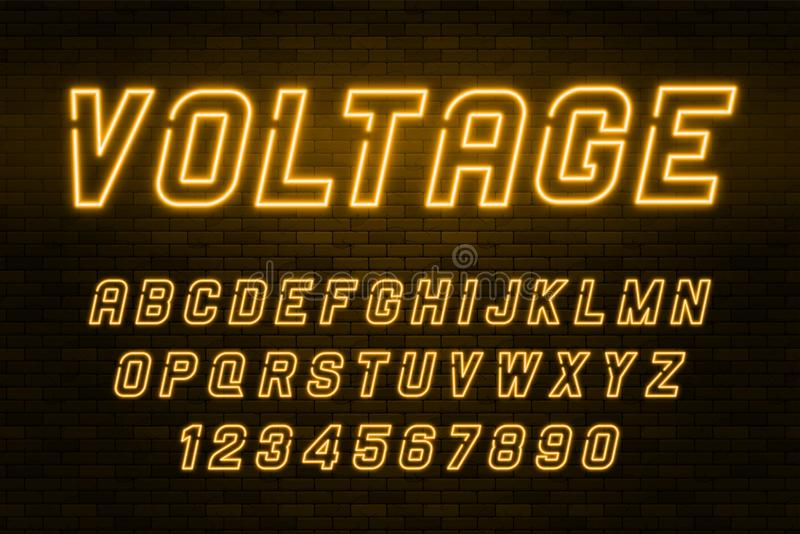 Alfabeto della luce al neon di tensione, fonte d'ardore extra realistica illustrazione vettoriale