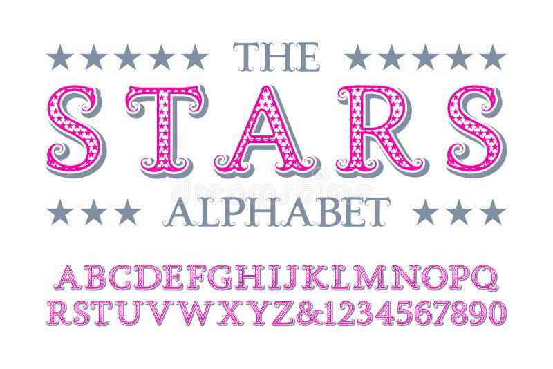 Alfabeto delle stelle con i numeri nello stile d'annata romantico illustrazione vettoriale