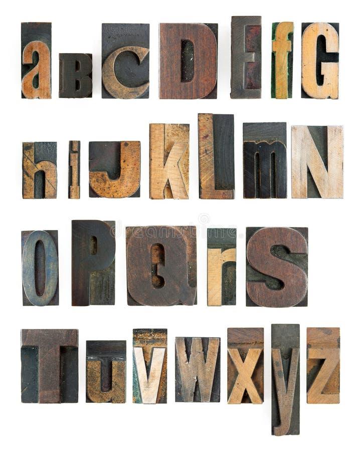 Alfabeto dello scritto tipografico fotografia stock libera da diritti
