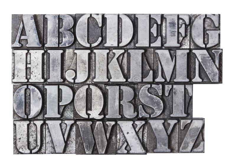 Alfabeto dello scritto tipografico immagine stock