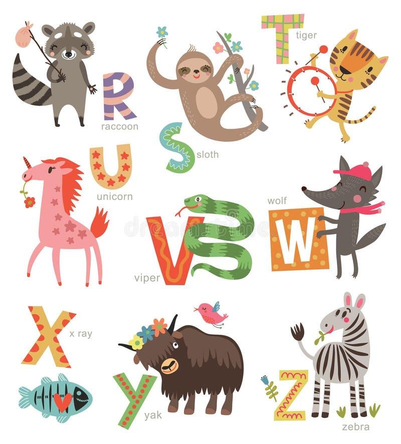 Alfabeto dello zoo per i bambini Insieme delle lettere e delle illustrazioni Animali svegli royalty illustrazione gratis