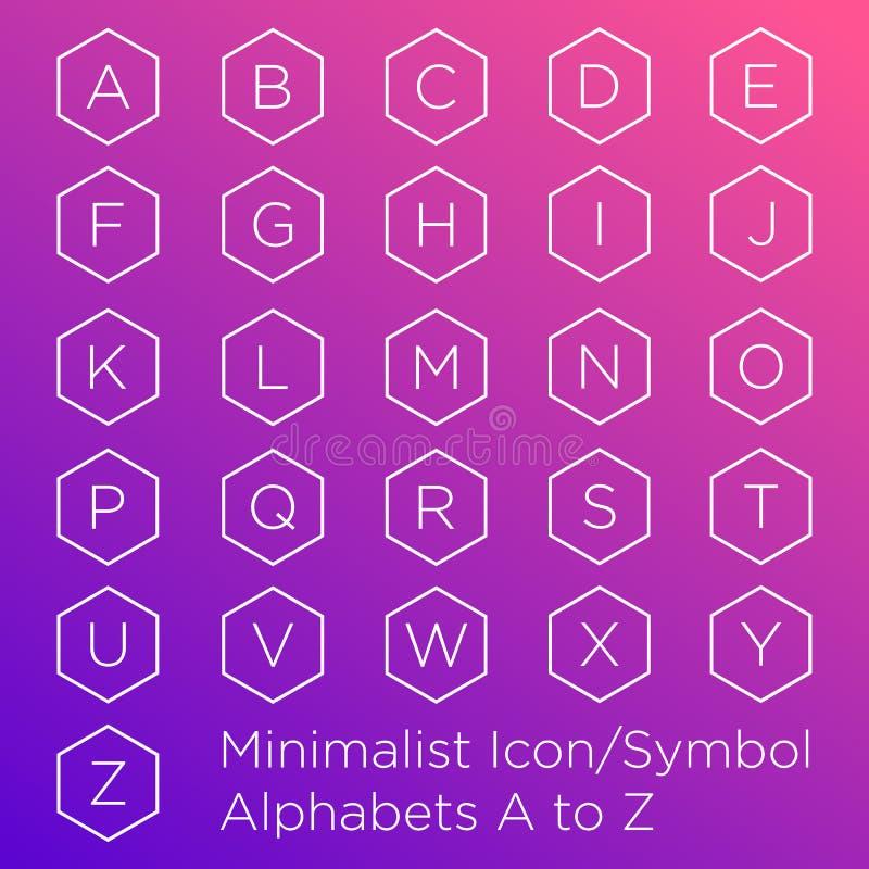 Alfabeto dentro da forma do hexágono ilustração royalty free