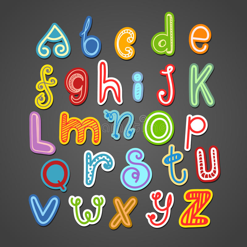 Alfabeto desenhado à mão abstrato da garatuja da cor ilustração stock