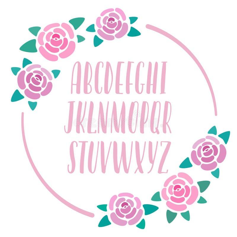 Alfabeto desenhado à mão cor-de-rosa com decoração das rosas, rotulação moderna, letras caligráficas principais, fonte para bande ilustração stock