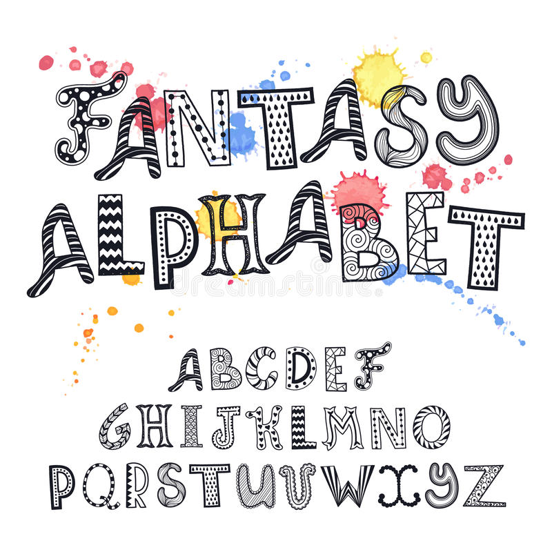 Alfabeto desenhado mão ilustração do vetor