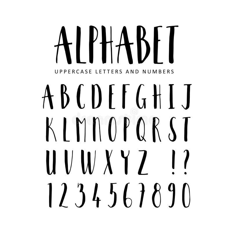 Alfabeto desenhado mão Fonte da escova de Sans Serif ilustração do vetor