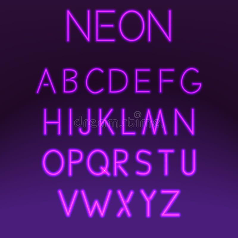 Alfabeto determinado de la noche de la fuente de neón en el ejemplo púrpura del vector del fondo Tipo de la lámpara de la tipogra stock de ilustración