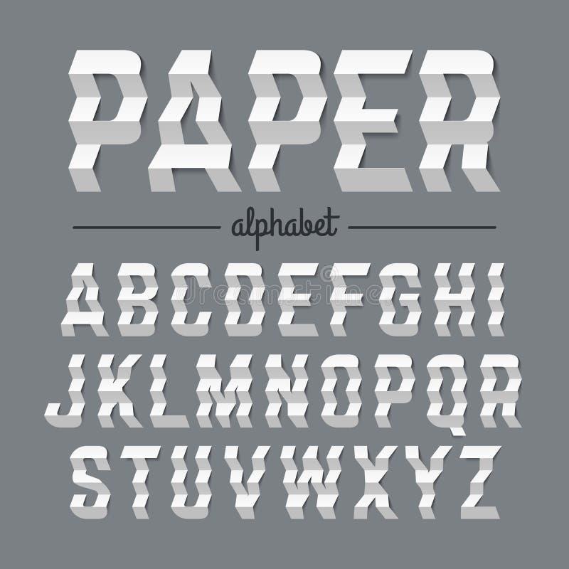 Alfabeto di carta con le lettere piegate zigzag illustrazione di stock
