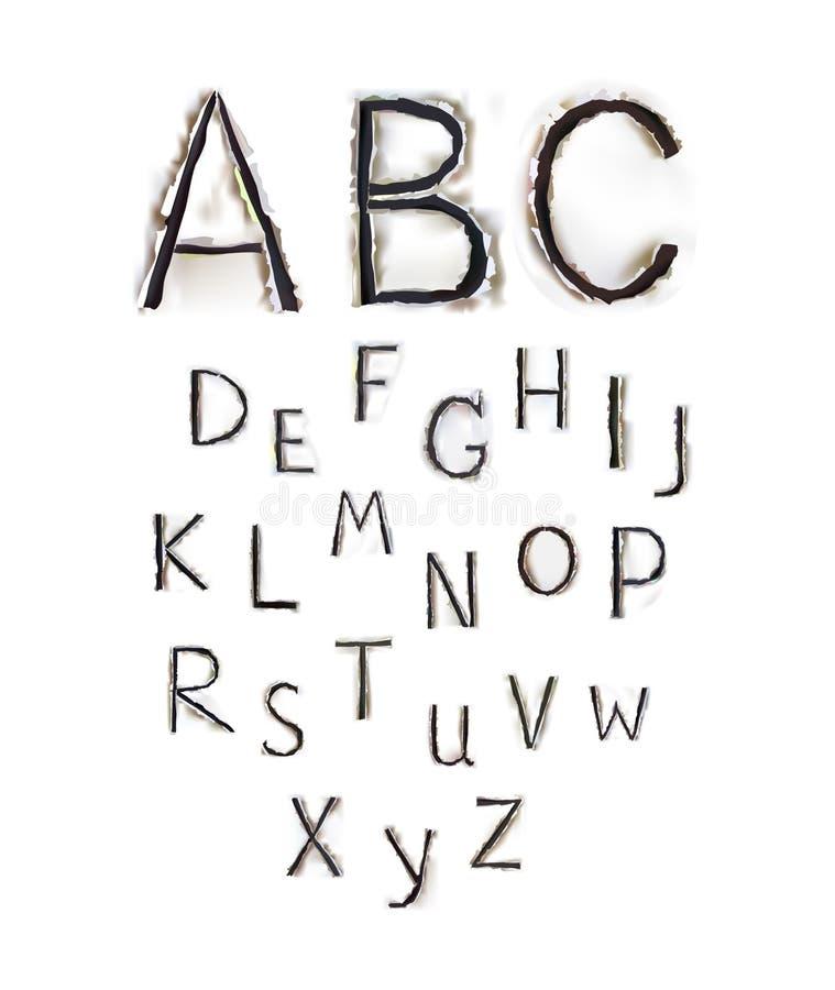 Alfabeto di carta strappato, parte della raccolta illustrazione di stock