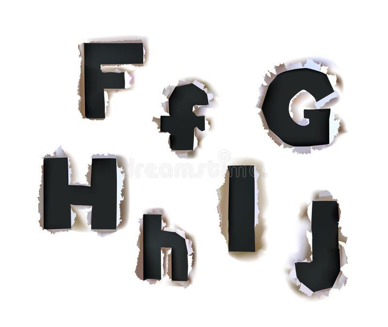 Alfabeto di carta strappato, parte della raccolta royalty illustrazione gratis