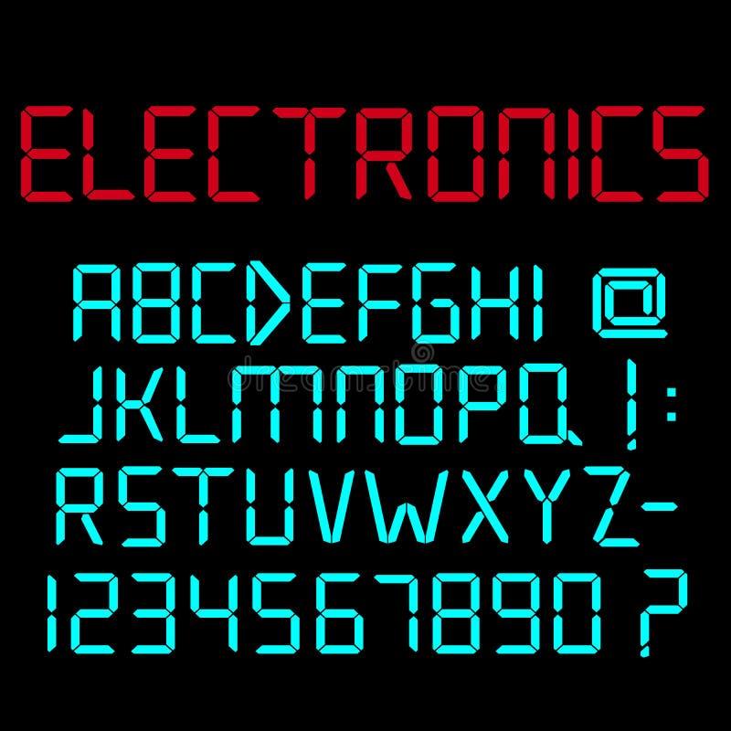 Alfabeto di Digital, numeri e segni di interpunzione illustrazione vettoriale