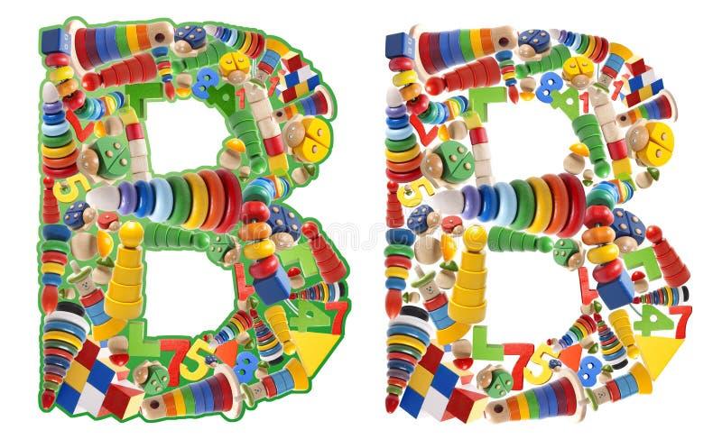 Alfabeto di legno dei giocattoli - lettera B immagini stock