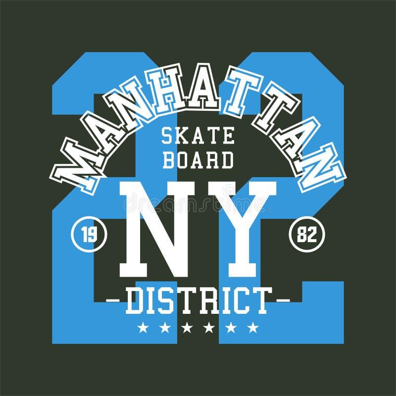 Alfabeto di progettazione e bordo del pattinatore di Manhattan di numeri royalty illustrazione gratis