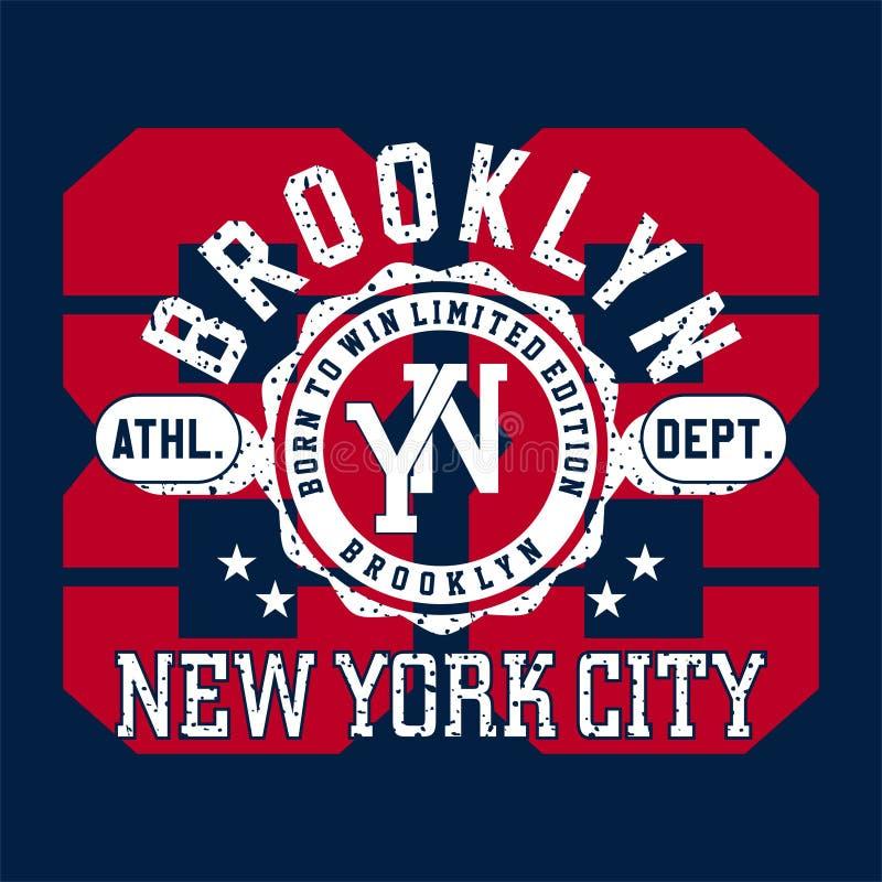 Alfabeto di progettazione e numeri Brooklyn New York City illustrazione di stock