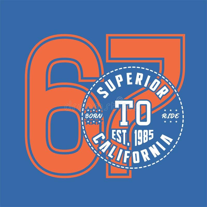 Alfabeto di progettazione e numeri California sopportata superiore illustrazione vettoriale